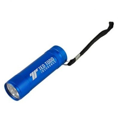 """Torpedo"" 9 LED's Laser Engraved Aluminum Flashlight w/Hand Strap"